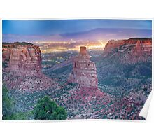 Colorado National Monument And City Lights Poster