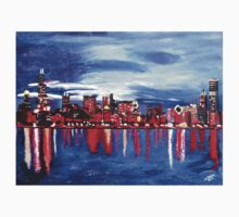 Chicago Skyline At Night One Piece - Short Sleeve