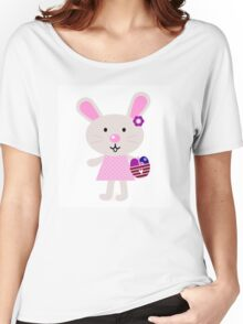 Cute retro easter bunny. Vector cartoon Illustration : Designer Cloth Women's Relaxed Fit T-Shirt