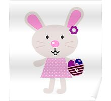 Cute retro easter bunny. Vector cartoon Illustration : Designer Cloth Poster