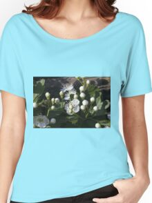white flowers in spring Women's Relaxed Fit T-Shirt