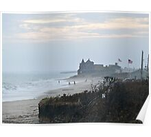 Misty Beach at Dusk - After Hurricane Irene  Poster