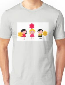 Cute childrens holding flowers : cartoon characters Unisex T-Shirt