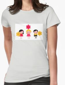 Cute childrens holding flowers : cartoon characters Womens Fitted T-Shirt