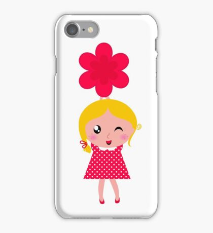 Cute childrens holding flowers : cartoon characters iPhone Case/Skin