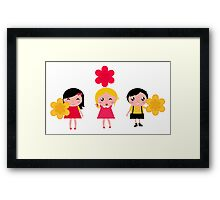 Cute childrens holding flowers : cartoon characters Framed Print