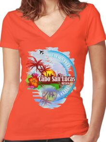 Cabo San Lucas Beach Style Women's Fitted V-Neck T-Shirt