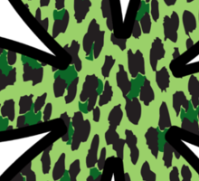 Animal Print, Spotted Leopard, Flower - Green Black  Sticker