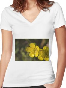yellow flowers in spring Women's Fitted V-Neck T-Shirt