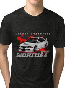 Mitsubishi Lancer Evo (white) Tri-blend T-Shirt