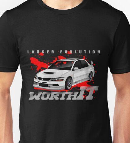 Mitsubishi Lancer Evo (white) Unisex T-Shirt
