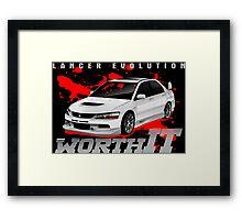 Mitsubishi Lancer Evo (white) Framed Print