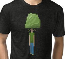 Pixelated Man-Tree Tri-blend T-Shirt