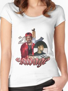 21 SAVAGE VINTAGE T SHIRT TEE HIPHOP Women's Fitted Scoop T-Shirt