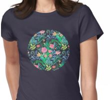 Roses + Green Messy Floral Posie Womens Fitted T-Shirt