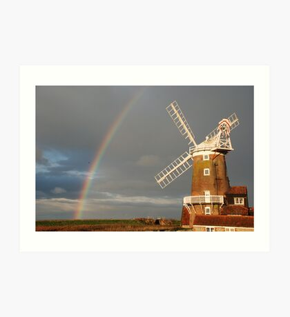 Cley Windmill and Rainbow 2010 Art Print