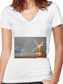 Cley Windmill and Rainbow 2010 Women's Fitted V-Neck T-Shirt