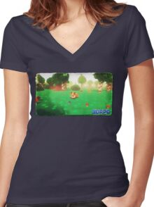 3DRPG Postcard Women's Fitted V-Neck T-Shirt