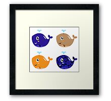 Four stylized patterned whale collection Framed Print