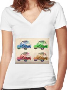 old cars  Women's Fitted V-Neck T-Shirt