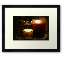 Holly Leaves and Candles All Aglow Framed Print