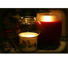 Holly Leaves and Candles All Aglow Photographic Print