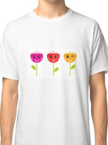 Cute colorful tulips. Colorful cartoon Artwork. Classic T-Shirt
