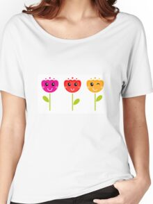 Cute colorful tulips. Colorful cartoon Artwork. Women's Relaxed Fit T-Shirt