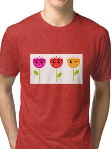 Cute colorful tulips. Colorful cartoon Artwork. Tri-blend T-Shirt