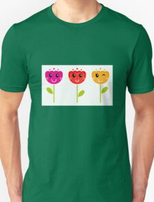 Cute colorful tulips. Colorful cartoon Artwork. Unisex T-Shirt