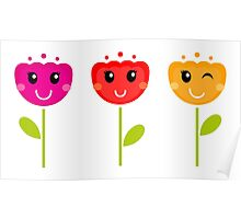 Cute colorful tulips. Colorful cartoon Artwork. Poster