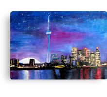 Toronto Skyline At Night With Cn Tower Canvas Print