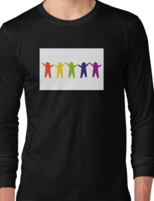 Diverse row of paper people holding hands Long Sleeve T-Shirt