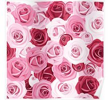 pink,red,white,roses,pattern,modern,trendy,cute,beautiful,girly Poster