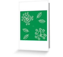 Floral green and white Greeting Card