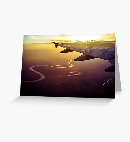 Snake river under plane wing at sunset Greeting Card