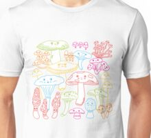 Cute Mushrooms Line Work Unisex T-Shirt