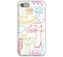 Cute Mushrooms Line Work iPhone Case/Skin
