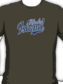 Rhode Island State Script VINTAGE Blue T-Shirt