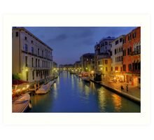 Venice Canal Romantic Night Photo Art Print