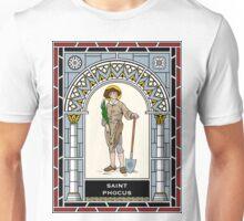 ST PHOCUS THE GARDENER under STAINED GLASS Unisex T-Shirt