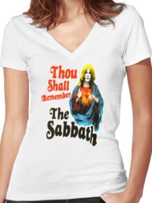 thou shall remember the sabbath Women's Fitted V-Neck T-Shirt