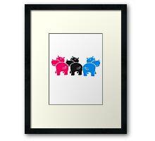bunt muster drei 3 team freunde gruppe party popo arsch hintern lustig comic dick cartoon kleines süßes niedliches baby kind nilpferd glücklich  Framed Print