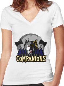 Whiterun Companions Basketball Logo Women's Fitted V-Neck T-Shirt