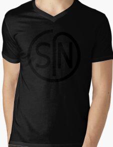 NJS SIN T-Shirt Black Print Mens V-Neck T-Shirt