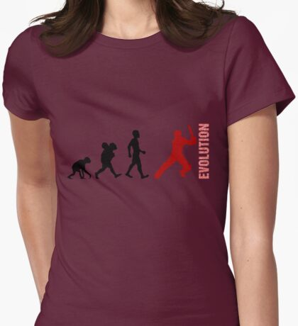 Evolution - Cricket (design 1) Womens Fitted T-Shirt