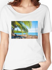 Sunbeds on exotic tropical palm beach, relax concept Women's Relaxed Fit T-Shirt