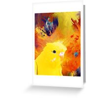 abstract yellow bird Greeting Card