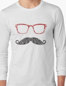 Moustglasses lovers - red Long Sleeve T-Shirt