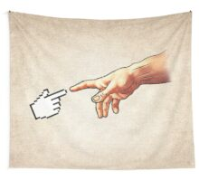 Funny 8bit Nerd & Geek Humor (Creation of Adam Parody) Wall Tapestry